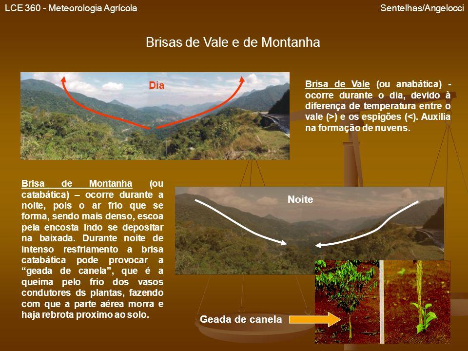 LCE 360 - Meteorologia Agrícola Sentelhas/Angelocci Brisas de Vale e de Montanha Brisa de Vale (ou anabática) - ocorre durante o dia, devido à diferen