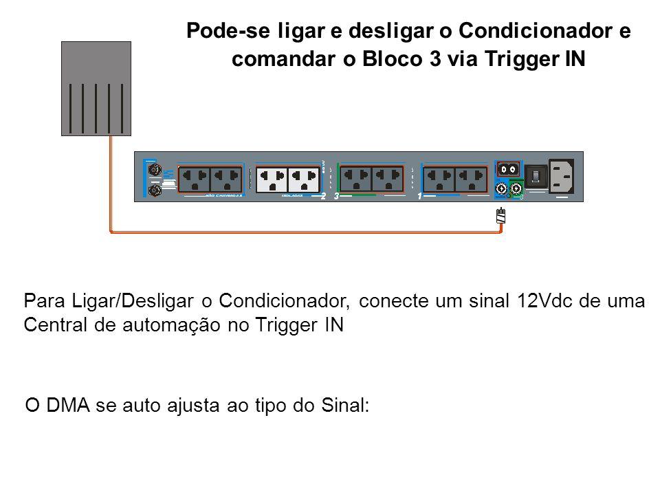 Para Ligar/Desligar o Condicionador, conecte um sinal 12Vdc de uma Central de automação no Trigger IN O DMA se auto ajusta ao tipo do Sinal: Pode-se l