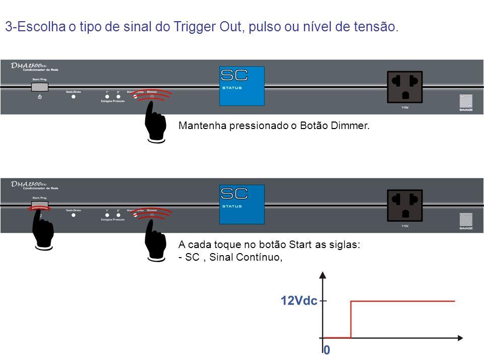 3-Escolha o tipo de sinal do Trigger Out, pulso ou nível de tensão. Mantenha pressionado o Botão Dimmer. A cada toque no botão Start as siglas: - SC,