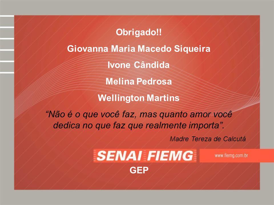 Obrigado!! Giovanna Maria Macedo Siqueira Ivone Cândida Melina Pedrosa Wellington Martins Não é o que você faz, mas quanto amor você dedica no que faz