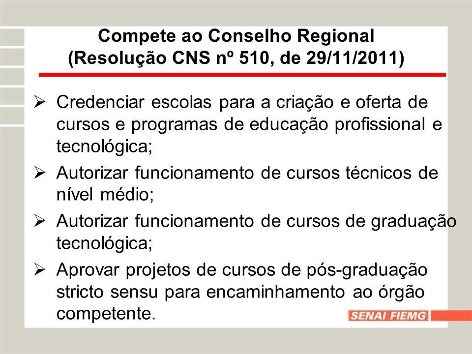 Compete ao Conselho Regional (Resolução CNS nº 510, de 29/11/2011) Credenciar escolas para a criação e oferta de cursos e programas de educação profis