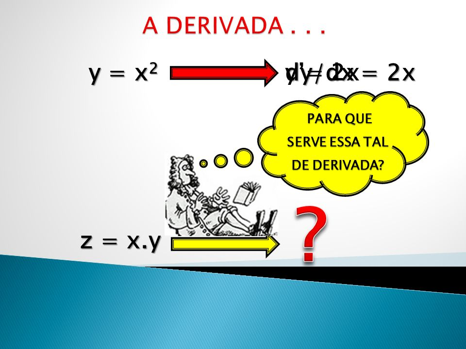 y= 2x dy/dx = 2x z = x.y PARA QUE SERVE ESSA TAL DE DERIVADA? PARA QUE SERVE ESSA TAL DE DERIVADA?