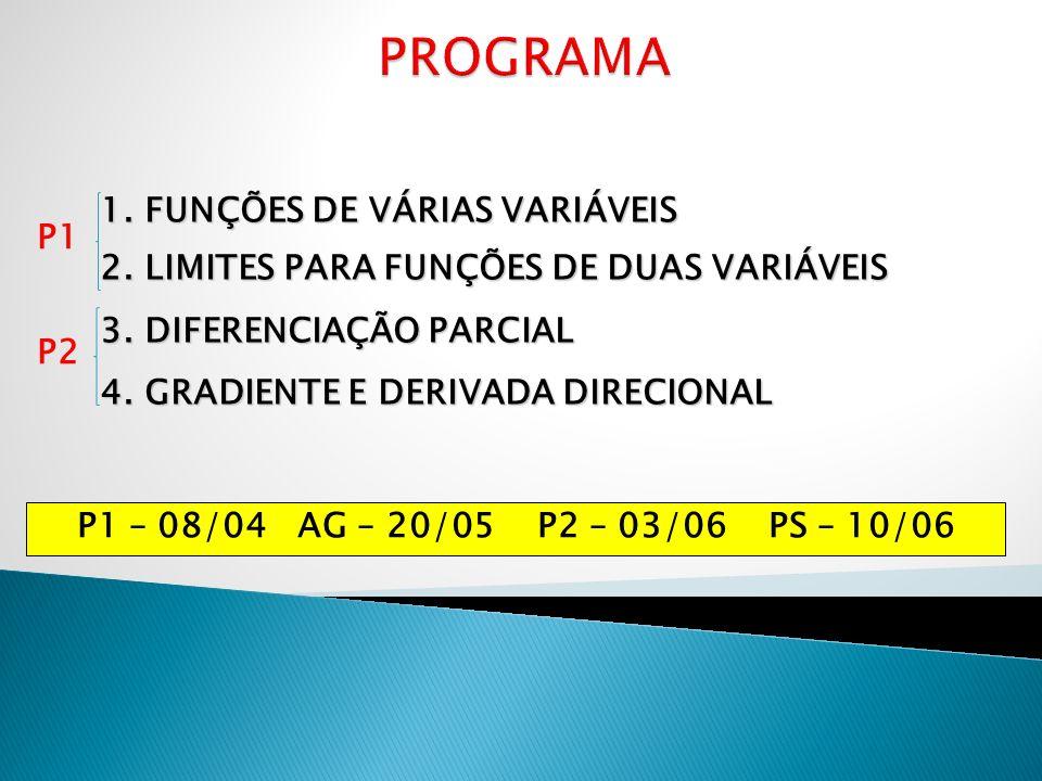 1. FUNÇÕES DE VÁRIAS VARIÁVEIS 2. LIMITES PARA FUNÇÕES DE DUAS VARIÁVEIS 3. DIFERENCIAÇÃO PARCIAL 4. GRADIENTE E DERIVADA DIRECIONAL P1 P2 P1 – 08/04
