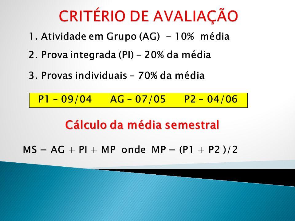 1. Atividade em Grupo (AG) - 10% média 2. Prova integrada (PI) – 20% da média 3. Provas individuais – 70% da média P1 – 09/04 AG – 07/05 P2 – 04/06 Cá