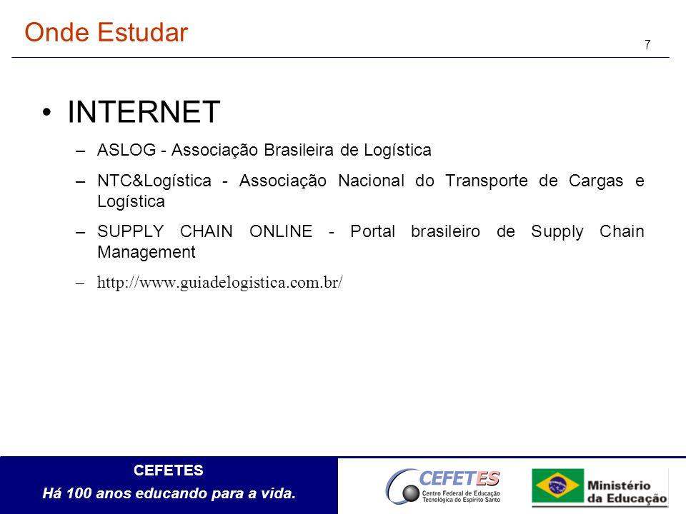 CEFETES Há 100 anos educando para a vida. 7 Onde Estudar INTERNET –ASLOG - Associação Brasileira de Logística –NTC&Logística - Associação Nacional do
