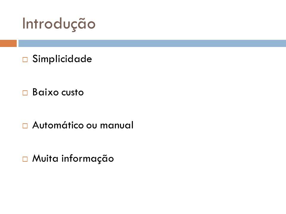 Introdução Simplicidade Baixo custo Automático ou manual Muita informação