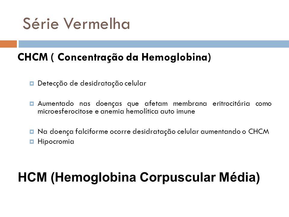 Série Vermelha CHCM ( Concentração da Hemoglobina) Detecção de desidratação celular Aumentado nas doenças que afetam membrana eritrocitária como micro