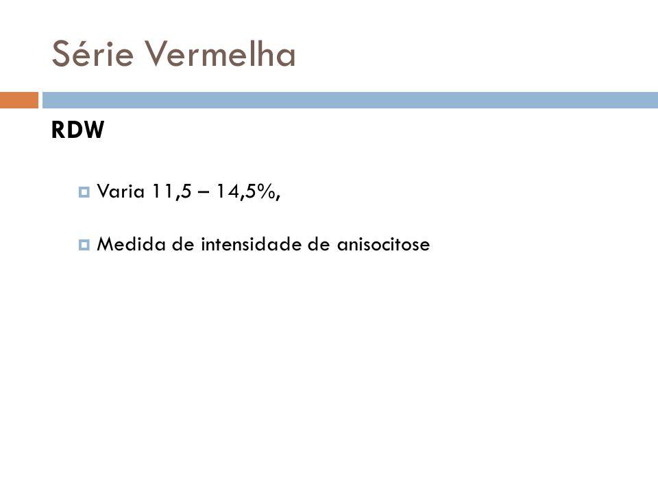 Série Vermelha RDW Varia 11,5 – 14,5%, Medida de intensidade de anisocitose