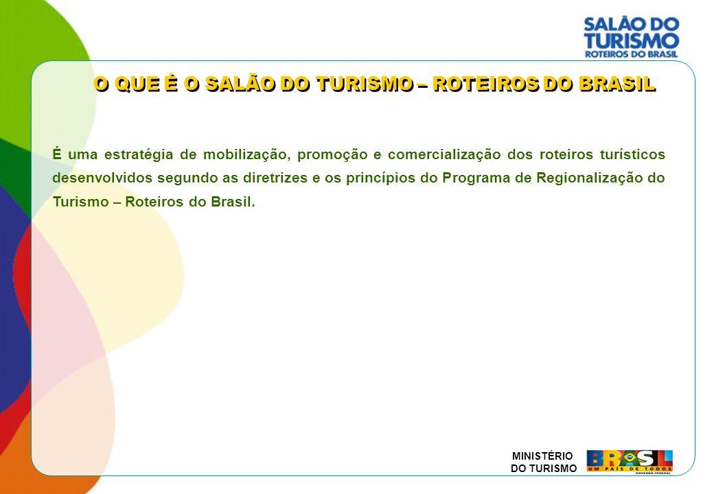 MINISTÉRIO DO TURISMO É uma estratégia de mobilização, promoção e comercialização dos roteiros turísticos desenvolvidos segundo as diretrizes e os pri