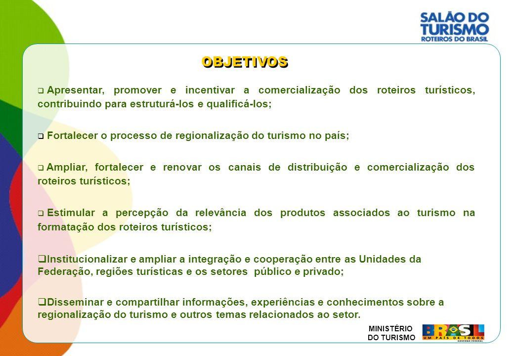 MINISTÉRIO DO TURISMO OBJETIVOS Apresentar, promover e incentivar a comercialização dos roteiros turísticos, contribuindo para estruturá-los e qualifi