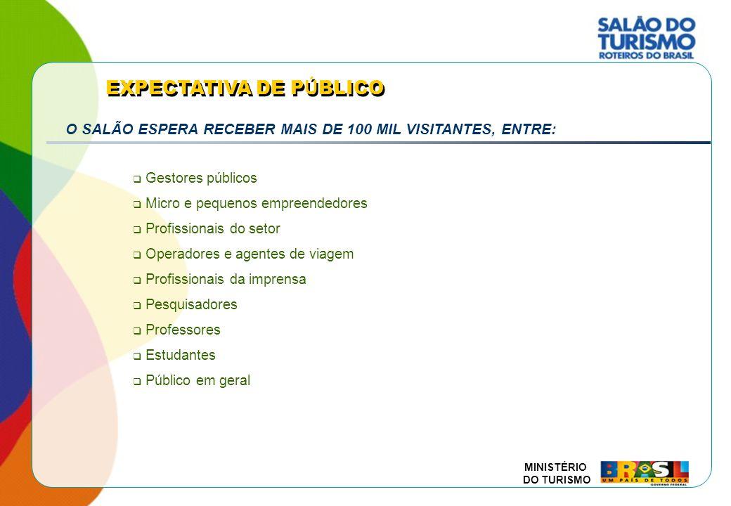 MINISTÉRIO DO TURISMO Mercado da Agricultura Familiar GESTÃO DO SALÃO DO TURISMO PARCEIROS Negociação, organização e implementação Relações públicas / comunicação Orientações e critérios para mobilização e participação MINISTÉRIO DO TURISMO SECRETARIA EXECUTIVA SECRETARIA NACIONAL DE PROGRAMAS DE DESENVOLVIMENTO TURÍSTICO EMBRATUR SECRETARIA NACIONAL DE POLÍTICAS DE TURISMO Coordenação Geral (DEAOT)* Coordenação Executiva (CGIN)* Grupo de Comunicação Abertura do Salão do Turismo, estratégias de mobilização, divulgação, press trip, etc.