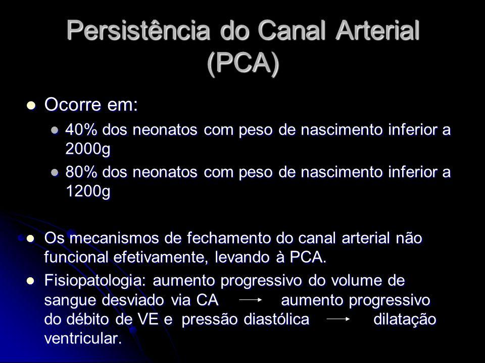 Persistência do Canal Arterial (PCA) Ocorre em: Ocorre em: 40% dos neonatos com peso de nascimento inferior a 2000g 40% dos neonatos com peso de nasci