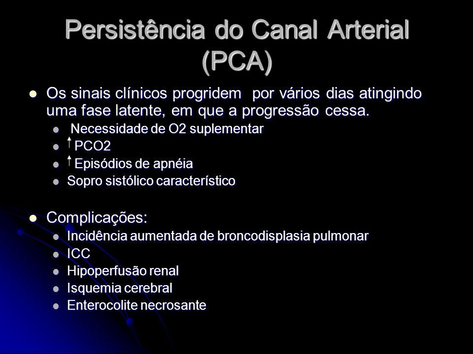Persistência do Canal Arterial (PCA) Os sinais clínicos progridem por vários dias atingindo uma fase latente, em que a progressão cessa. Os sinais clí