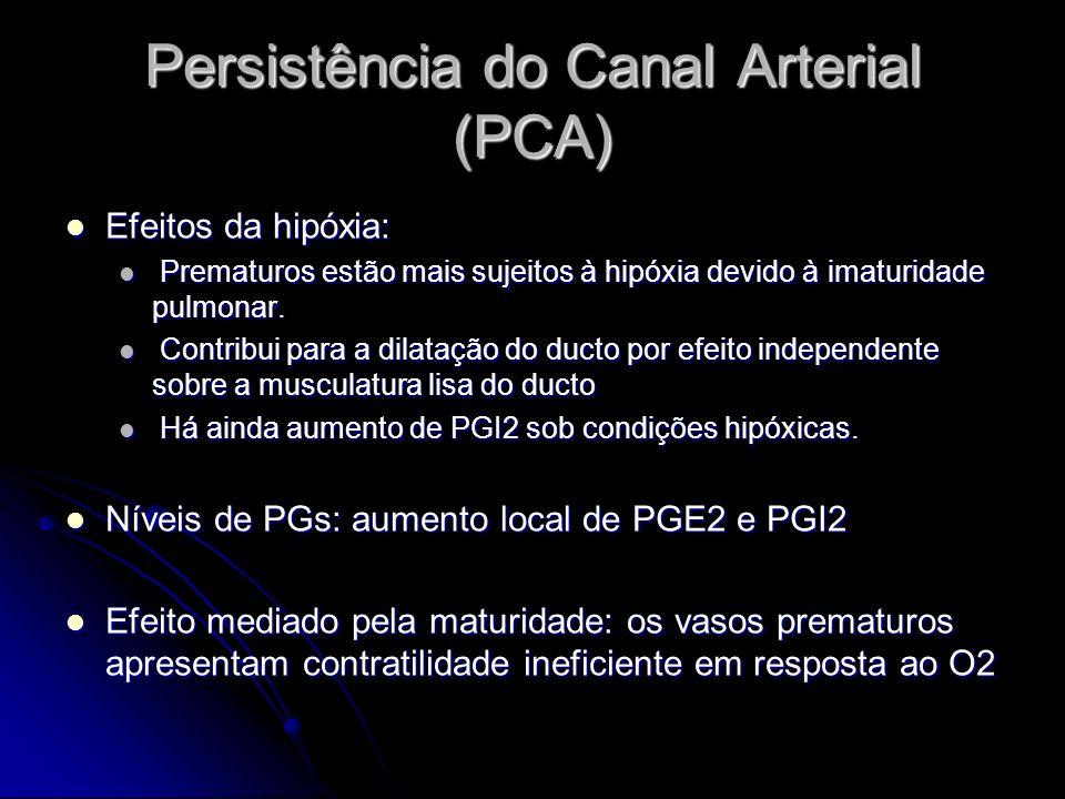 Persistência do Canal Arterial (PCA) Efeitos da hipóxia: Efeitos da hipóxia: Prematuros estão mais sujeitos à hipóxia devido à imaturidade pulmonar. P