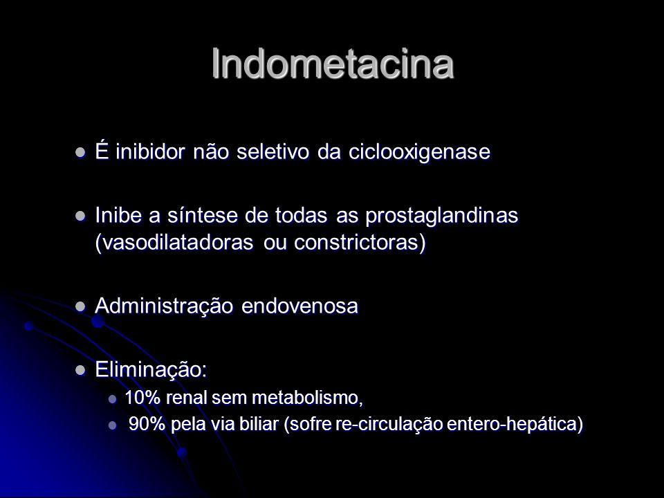 Indometacina É inibidor não seletivo da ciclooxigenase É inibidor não seletivo da ciclooxigenase Inibe a síntese de todas as prostaglandinas (vasodila