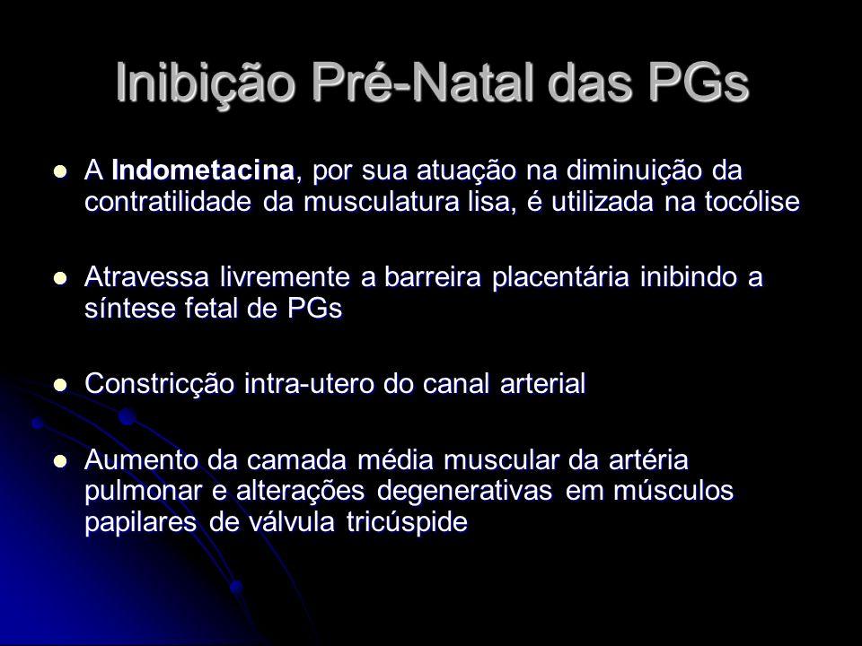 Inibição Pré-Natal das PGs A Indometacina, por sua atuação na diminuição da contratilidade da musculatura lisa, é utilizada na tocólise A Indometacina