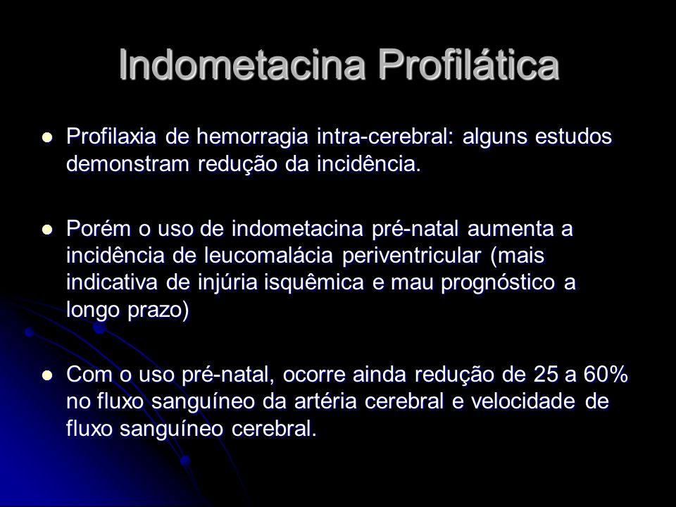 Indometacina Profilática Profilaxia de hemorragia intra-cerebral: alguns estudos demonstram redução da incidência. Profilaxia de hemorragia intra-cere
