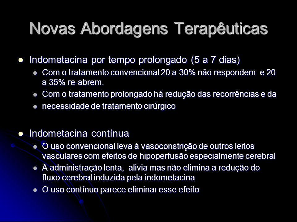 Novas Abordagens Terapêuticas Indometacina por tempo prolongado (5 a 7 dias) Indometacina por tempo prolongado (5 a 7 dias) Com o tratamento convencio