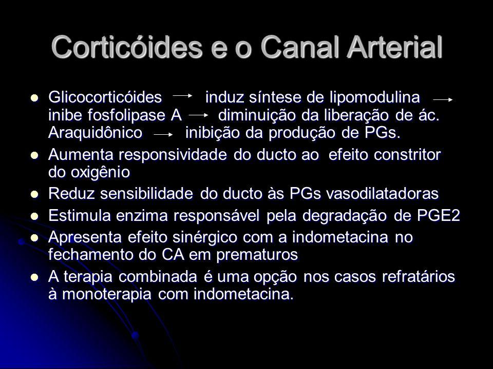 Corticóides e o Canal Arterial Glicocorticóides induz síntese de lipomodulina inibe fosfolipase A diminuição da liberação de ác. Araquidônico inibição