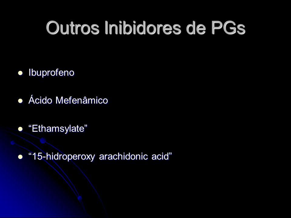Outros Inibidores de PGs Ibuprofeno Ibuprofeno Ácido Mefenâmico Ácido Mefenâmico Ethamsylate Ethamsylate 15-hidroperoxy arachidonic acid 15-hidroperox