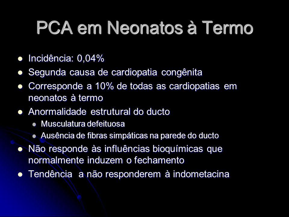 PCA em Neonatos à Termo Incidência: 0,04% Incidência: 0,04% Segunda causa de cardiopatia congênita Segunda causa de cardiopatia congênita Corresponde