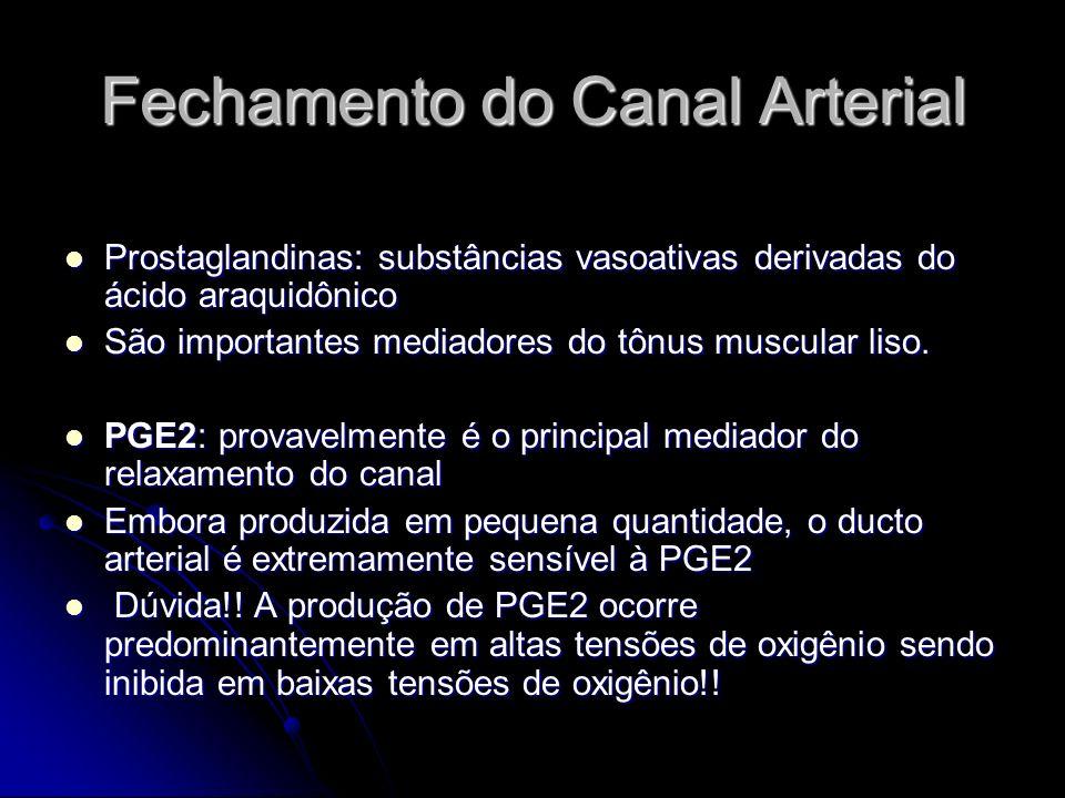 Fechamento do Canal Arterial PGI2 : é a principal prostaglandina produzida pelo canal arterial PGI2 : é a principal prostaglandina produzida pelo canal arterial Menos potente (3x) que a PGE2, porém mais abundante (10x) Menos potente (3x) que a PGE2, porém mais abundante (10x) Ao contrário da PGE2, a síntese de PGI2 aumenta em condições hipóxicas (associadas com a persistência do canal arterial) Ao contrário da PGE2, a síntese de PGI2 aumenta em condições hipóxicas (associadas com a persistência do canal arterial) A maior produção é feita pelas células musculares lisas nas áreas espessadas da camada íntima do ducto.
