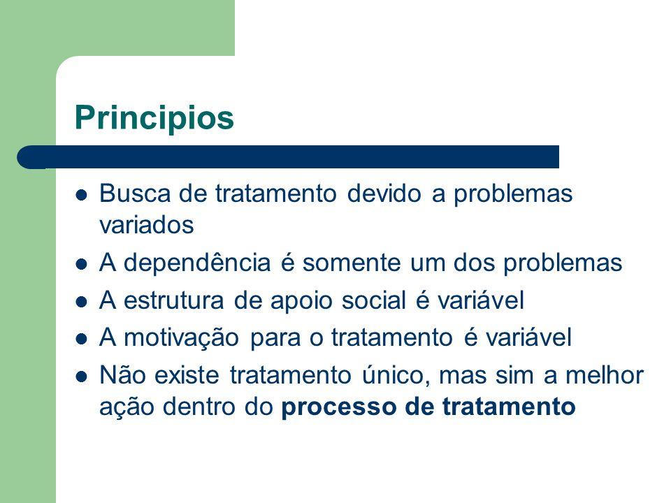 Principios Busca de tratamento devido a problemas variados A dependência é somente um dos problemas A estrutura de apoio social é variável A motivação