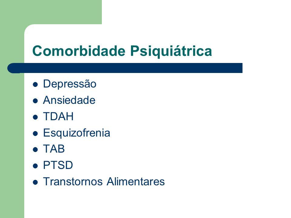 Comorbidade Psiquiátrica Depressão Ansiedade TDAH Esquizofrenia TAB PTSD Transtornos Alimentares