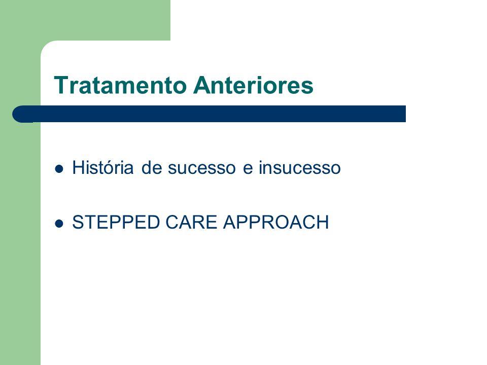 Tratamento Anteriores História de sucesso e insucesso STEPPED CARE APPROACH