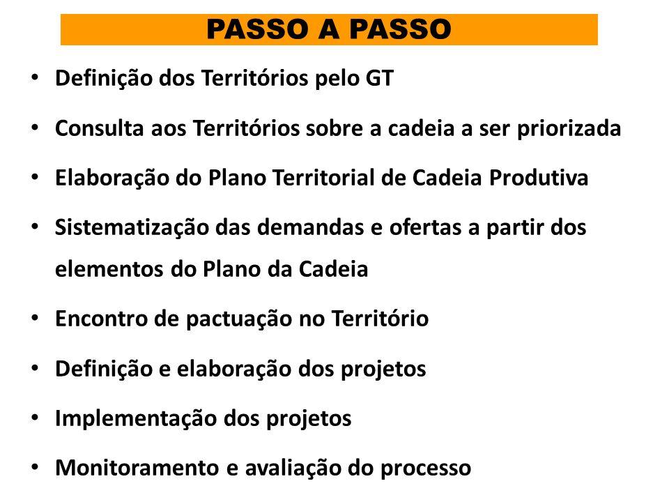 PASSO A PASSO Definição dos Territórios pelo GT Consulta aos Territórios sobre a cadeia a ser priorizada Elaboração do Plano Territorial de Cadeia Pro