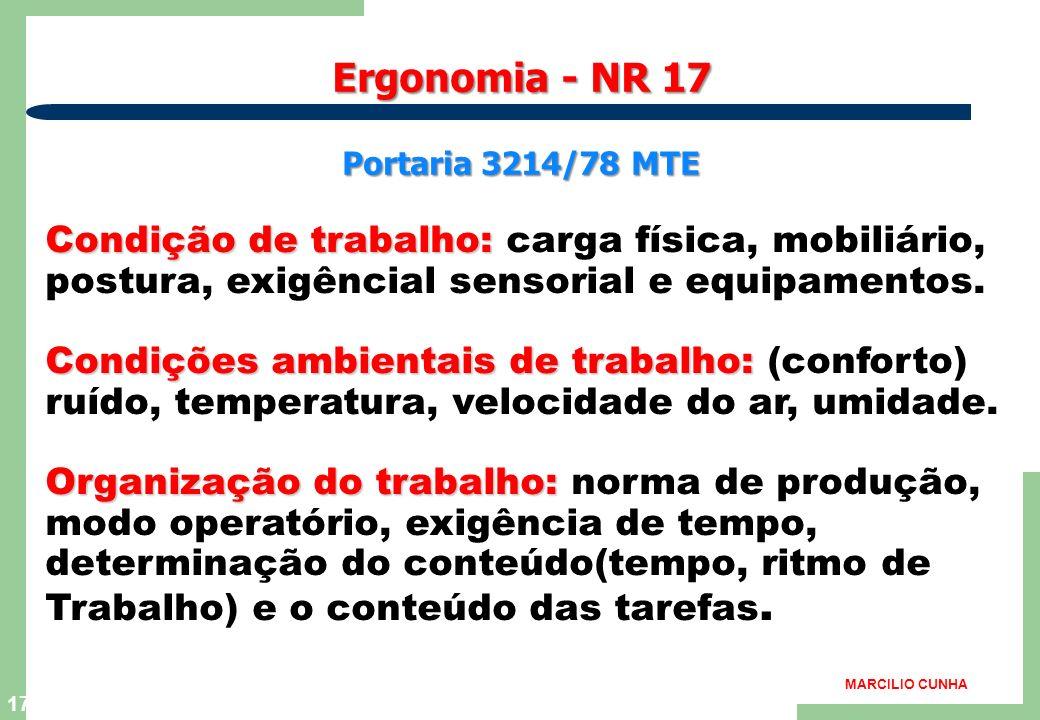16 Ergonomia : contribuições Microergonomia - Adequar a carga de trabalho as capacidades e limitações do trabalhador. - Fomentar o enriquecimento das