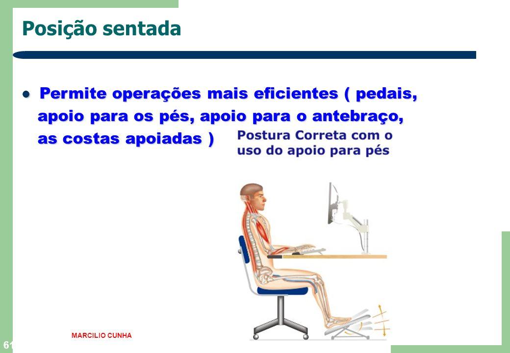 60 Posição sentada Ajuda a reduzir a fadiga,aumenta o equilíbrio Ajuda a reduzir a fadiga,aumenta o equilíbrio e a estabilidade ( contra vibrações,bal