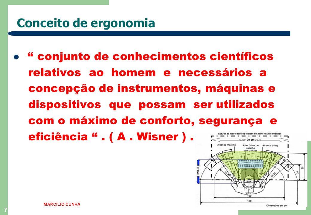 6 Definição de Ergonomia É o estudo da adaptação do trabalho ao homem. MARCILIO CUNHA