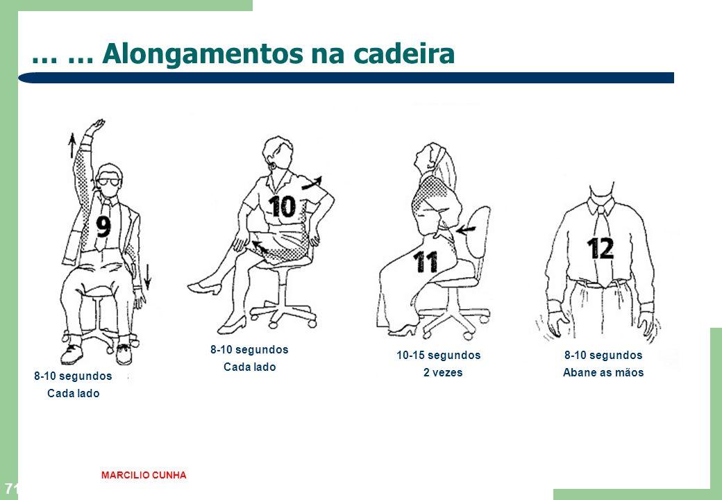 70 … Alongamentos na cadeira … 3-5 segundos 3 vezes 10-12 segundos Cada braço 10 segundos MARCILIO CUNHA