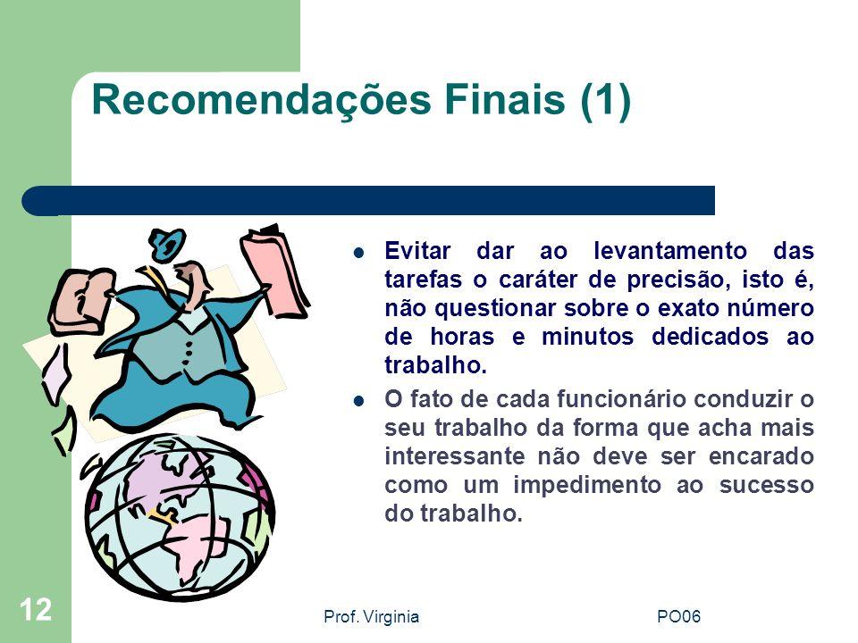 Prof. VirginiaPO06 12 Recomendações Finais (1) Evitar dar ao levantamento das tarefas o caráter de precisão, isto é, não questionar sobre o exato núme