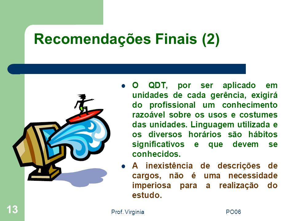 Prof. VirginiaPO06 13 Recomendações Finais (2) O QDT, por ser aplicado em unidades de cada gerência, exigirá do profissional um conhecimento razoável