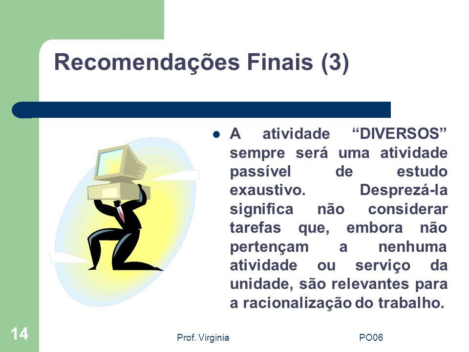 Prof. VirginiaPO06 14 Recomendações Finais (3) A atividade DIVERSOS sempre será uma atividade passível de estudo exaustivo. Desprezá-la significa não