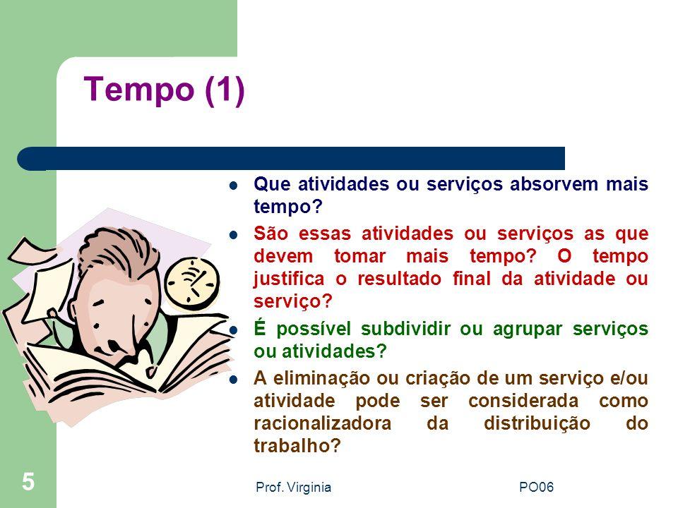 Prof. VirginiaPO06 5 Tempo (1) Que atividades ou serviços absorvem mais tempo? São essas atividades ou serviços as que devem tomar mais tempo? O tempo