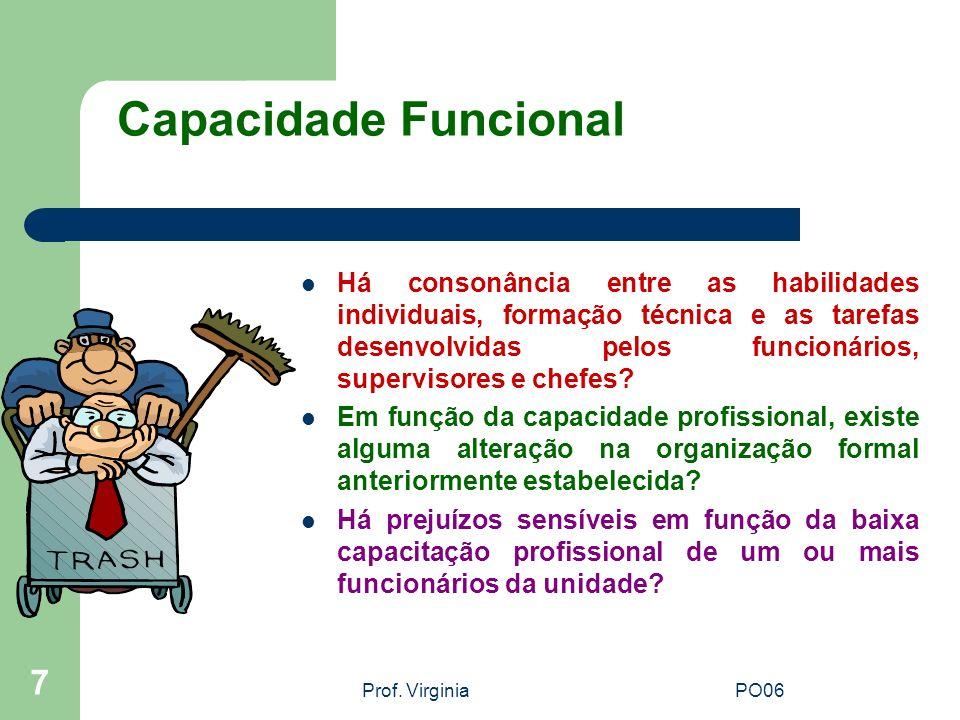 Prof. VirginiaPO06 7 Capacidade Funcional Há consonância entre as habilidades individuais, formação técnica e as tarefas desenvolvidas pelos funcionár