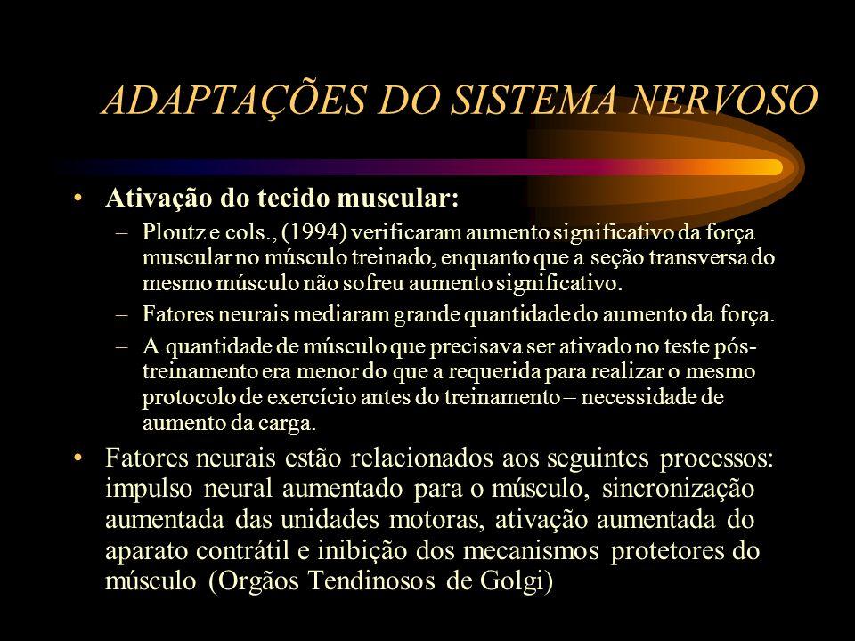 ADAPTAÇÕES DO SISTEMA NERVOSO Ativação do tecido muscular: –Ploutz e cols., (1994) verificaram aumento significativo da força muscular no músculo trei