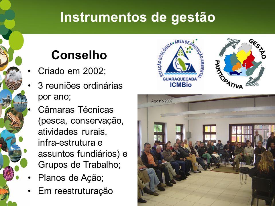Instrumentos de gestão Conselho Criado em 2002; 3 reuniões ordinárias por ano; Câmaras Técnicas (pesca, conservação, atividades rurais, infra-estrutur