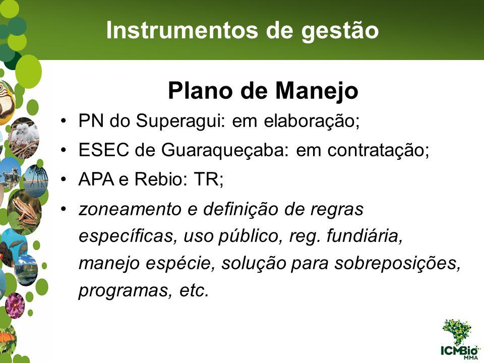 Instrumentos de gestão Plano de Manejo PN do Superagui: em elaboração; ESEC de Guaraqueçaba: em contratação; APA e Rebio: TR; zoneamento e definição d