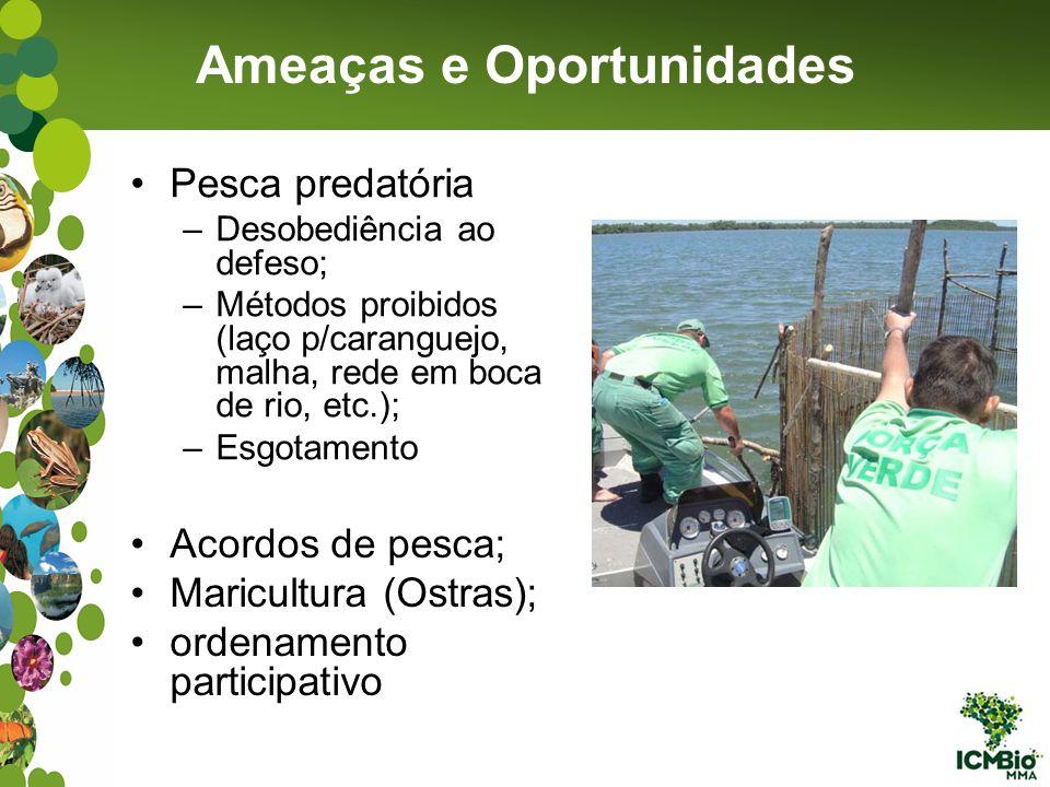Pesca predatória –Desobediência ao defeso; –Métodos proibidos (laço p/caranguejo, malha, rede em boca de rio, etc.); –Esgotamento Ameaças e Oportunida