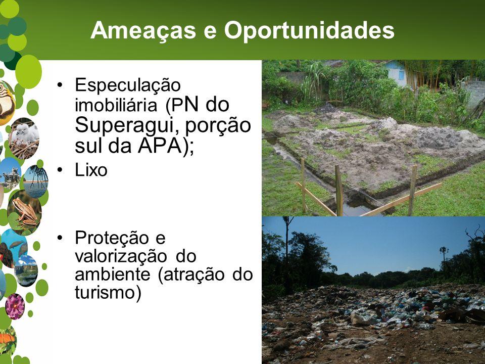 Especulação imobiliária (P N do Superagui, porção sul da APA); Lixo Ameaças e Oportunidades Proteção e valorização do ambiente (atração do turismo)