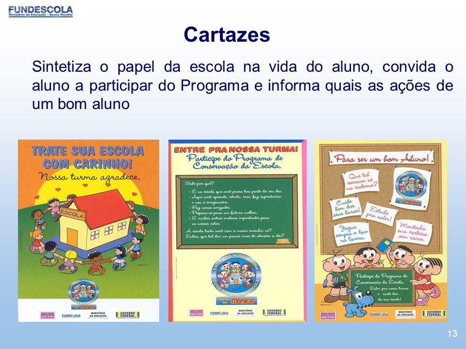 13 Cartazes Sintetiza o papel da escola na vida do aluno, convida o aluno a participar do Programa e informa quais as ações de um bom aluno