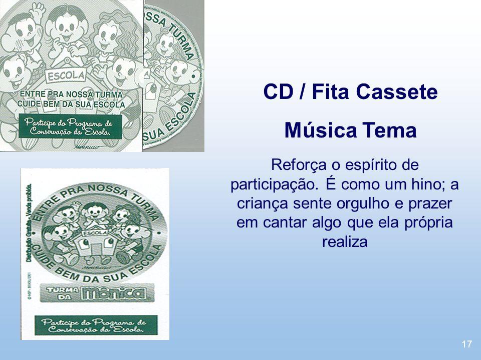 17 CD / Fita Cassete Música Tema Reforça o espírito de participação. É como um hino; a criança sente orgulho e prazer em cantar algo que ela própria r