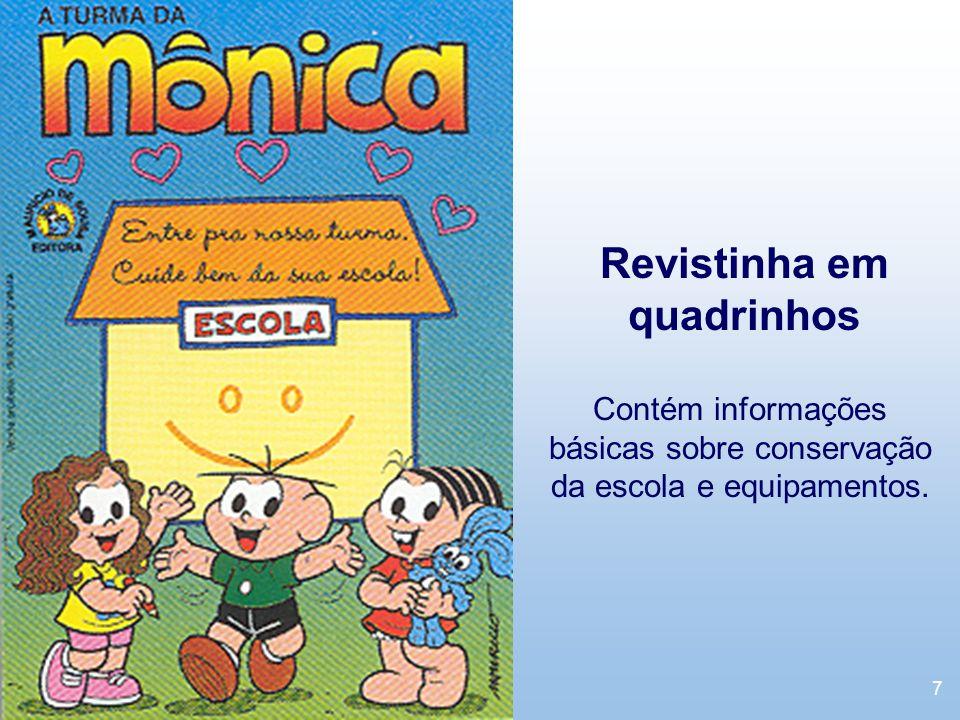 7 Revistinha em quadrinhos Contém informações básicas sobre conservação da escola e equipamentos.