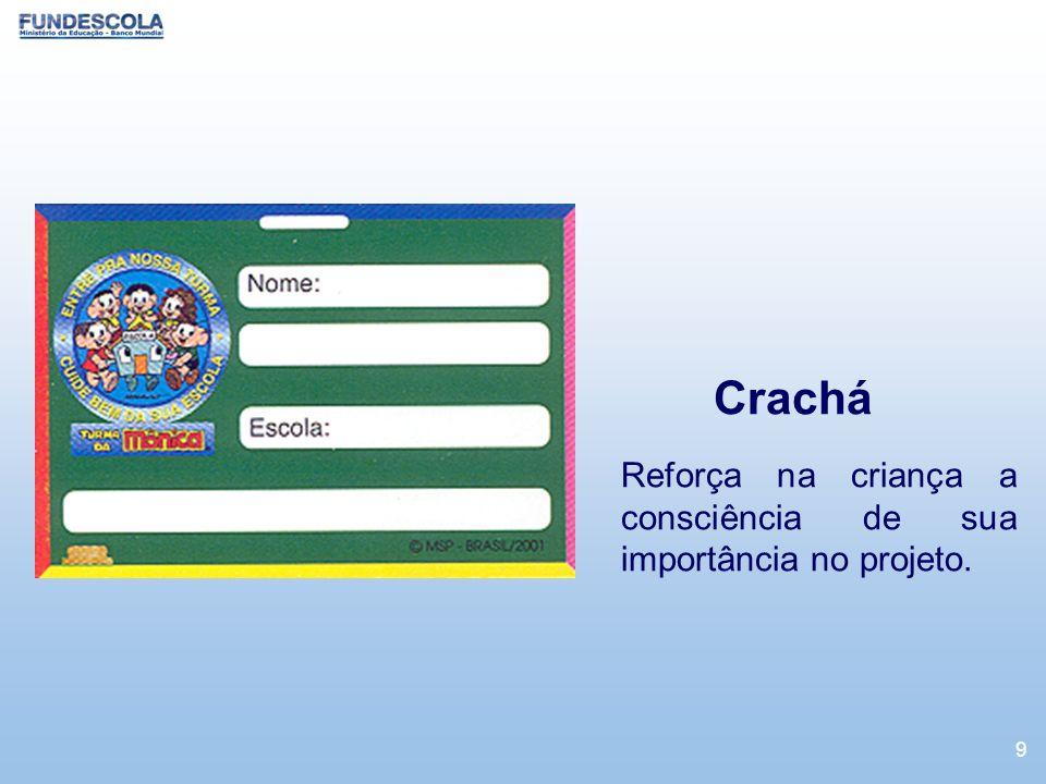9 Crachá Reforça na criança a consciência de sua importância no projeto.