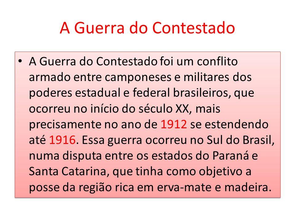 A Guerra do Contestado foi um conflito armado entre camponeses e militares dos poderes estadual e federal brasileiros, que ocorreu no início do século