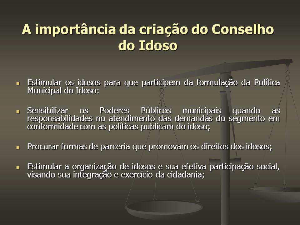 A importância da criação do Conselho do Idoso Estimular os idosos para que participem da formulação da Política Municipal do Idoso: Estimular os idoso